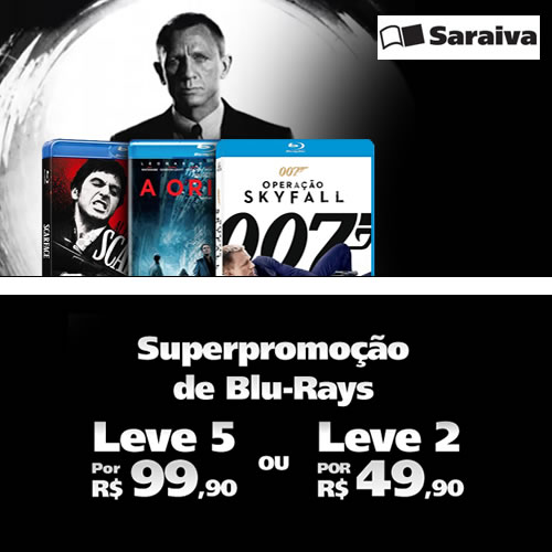 Leve 5 Blu-Rays por R$ 99,90 ou leve 2 Blu-Rays por R$ 49,90 na Saraiva