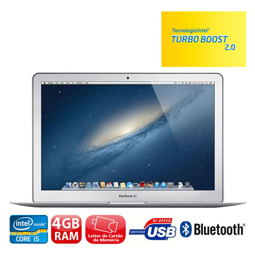 "MacBook Air Apple MD761BZ/A com Intel® Core™ i5 Dual Core, 4GB, 256GB SSD, Leitor de Cartões, Bluetooth 4.0, LED 13.3"" e OS X Mountain Lion + iLife"