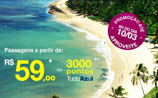 Promoção: Passagens aéreas a partir de R$ 59,90 na Azul