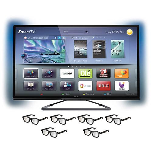"SmartTV LED 3D 46"" Philips 46PFL5508 Full HD Ambilight Entradas 3 HDMI 2 USB 360Hz Wifi 6 Óculos"