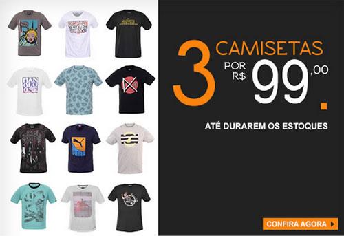 Kanui: 3 camisetas por R$ 99 - Expirados - Descontos Já!
