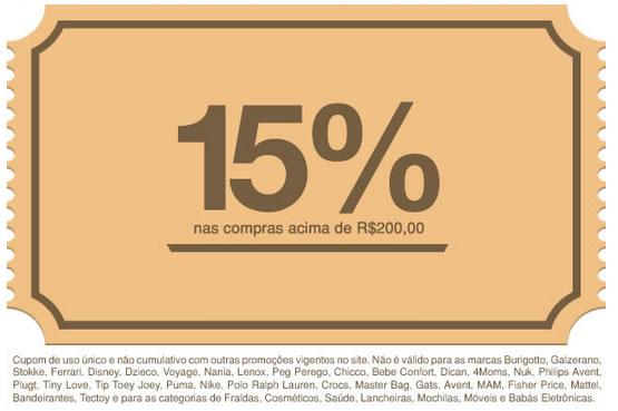 Cupom de desconto de 15% na Bebê Store