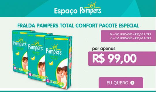 Fralda Pampers Total Confort com ótimo desconto na Kangoolu