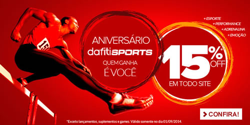 Cupom de desconto de 15% na Dafiti Sports