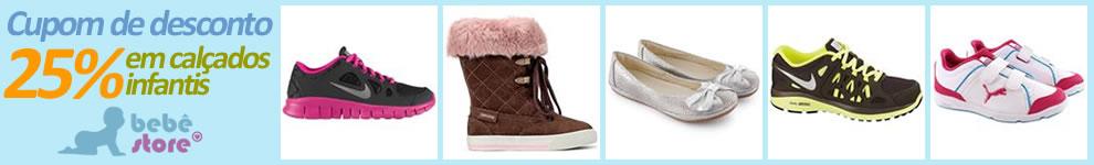 Cupom de desconto de 25% em calçados infantis na Bebê Store