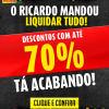 Liquidação com até 70% de desconto no Ricardo Eletro