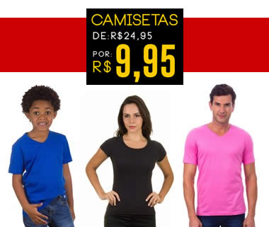 Camisetas masculinas, femininas ou infantis por R$ 9,95 na Camisaria Colombo