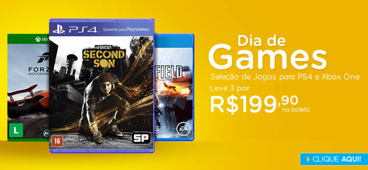 Games Xbox One e PS4 - Leve 3 por R$ 199,90 no Submarino