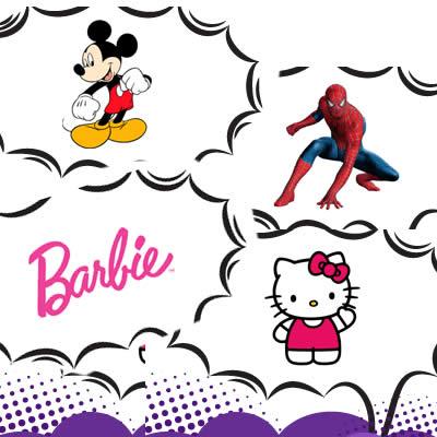 Barbie, Hello Kitty, Homem Aranha e Mickey na Dafiti