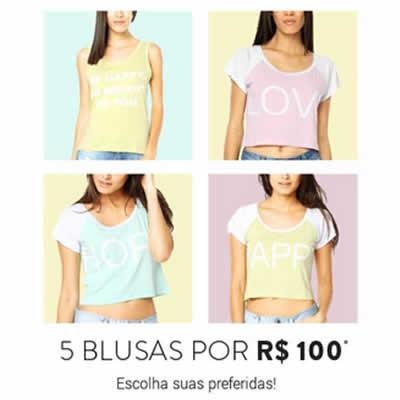 5 blusas por R$ 100 na Dafiti
