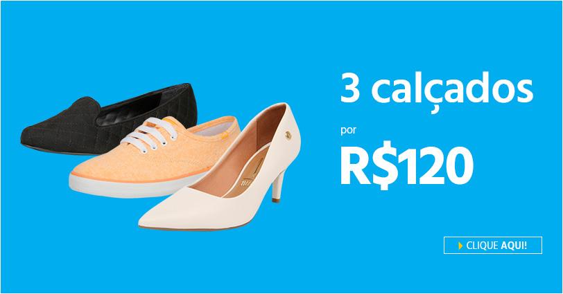 3 calçados femininos por R$ 120 no Submarino