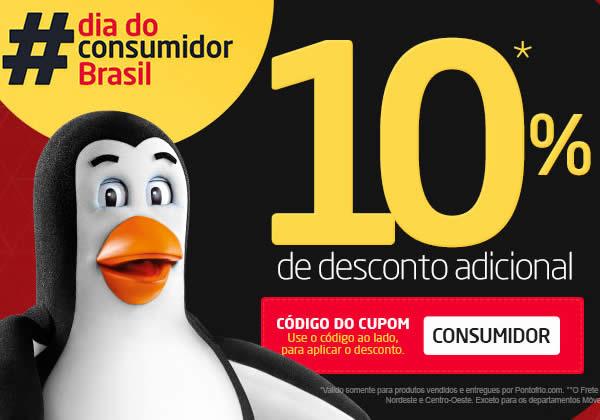 Cupom de 10% no Dia do Consumidor Pontofrio