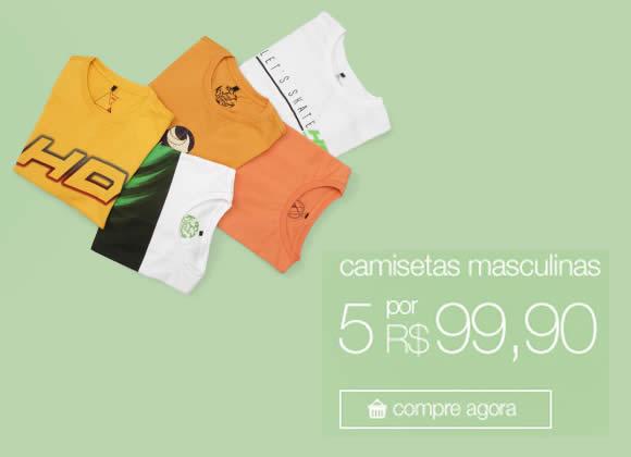 5 camisetas masculinas por R$ 99,90 na Americanas