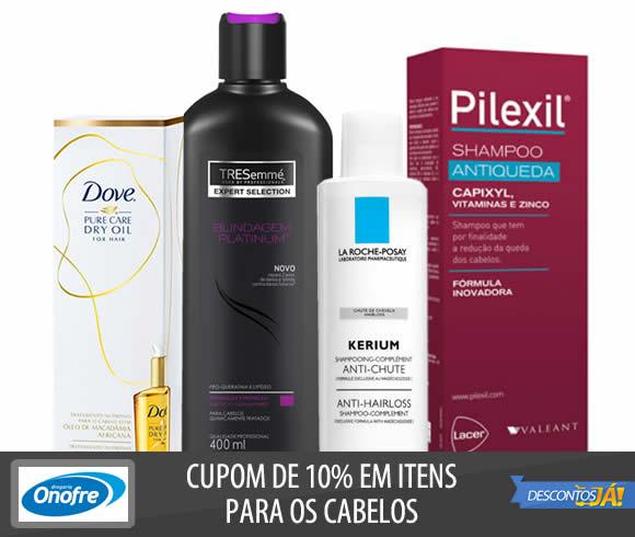 Cupom de 10% em produtos para os cabelos na Drogaria Onofre