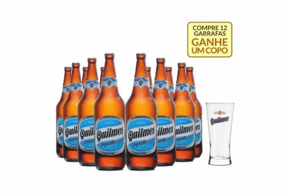 Compre cx c/12 cervejas Quilmes e ganhe um copo no Empório da Cerveja