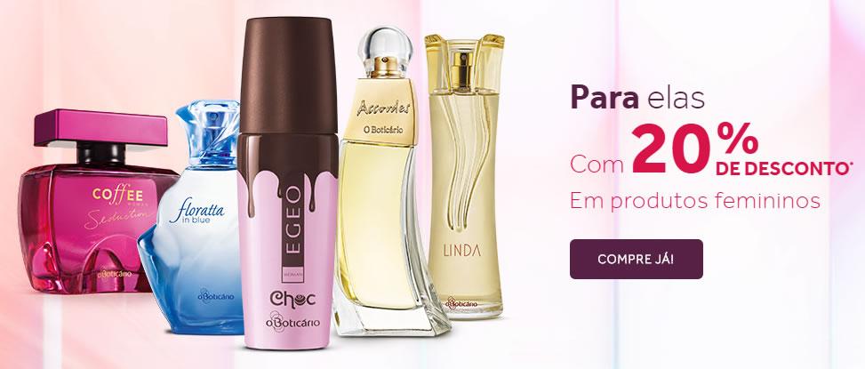 20% de desconto em perfumes femininos em O Boticário