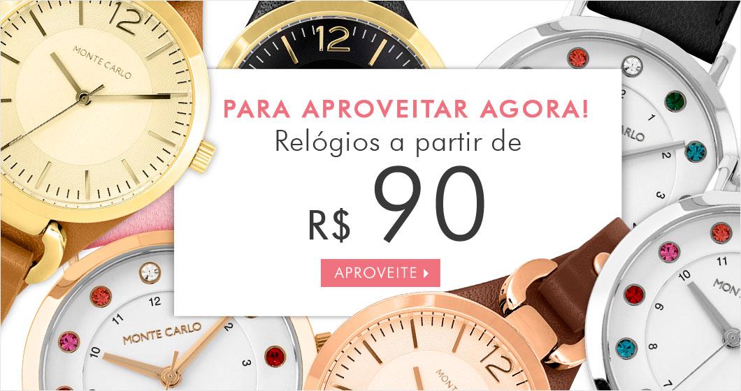 Relógios a partir de R$ 90 na Monte Carlo