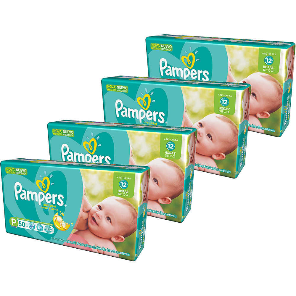 Kit 4 Fraldas Pampers Total Confort Mega por R$ 129,92 na Americanas