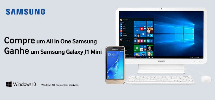 Compre All in One Samsung e ganhe Smartphone Samsung J1 Mini