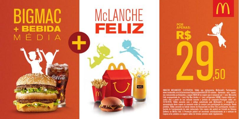 McLanche Feliz + Big Mac Avulso e 1 (um) refrigerante 500ml por R$ 29,50