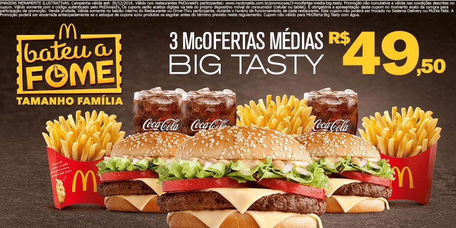 3 McOfertas Média Big Tasty por R$49,50