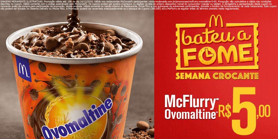 McFlurry Ovomaltine por R$5,00 no McDonald's