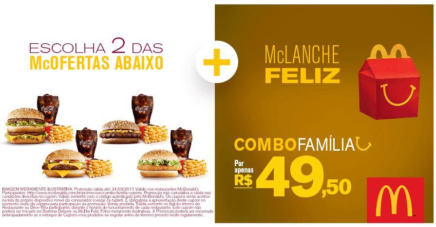 Combo Família: 2 McOfertas Médias + 1 McLanche Feliz por R$ 49,50