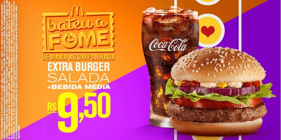 Extra Burger Salada + Refrigerante ou Del Valle Médio por R$9,50 com cupom McDonald's