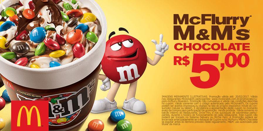 McFlurry M&Ms Chocolate por R$5,00 no McDonald's