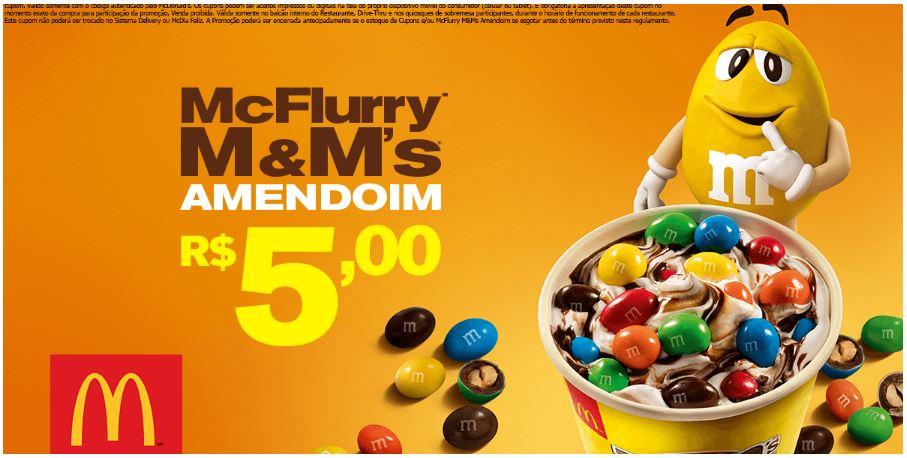McFlurry M&Ms Amendoim por R$5,00 no McDonald's