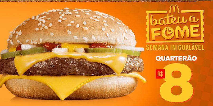 Quarterão por R$8,00 no McDonald's