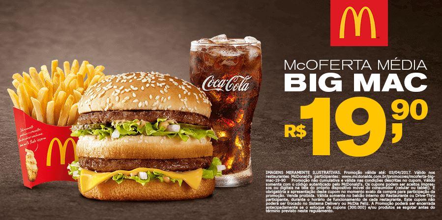 McOferta Média Big Mac por R$ 19,90 com cupom