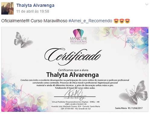 certificado curso de manicure tanise porto