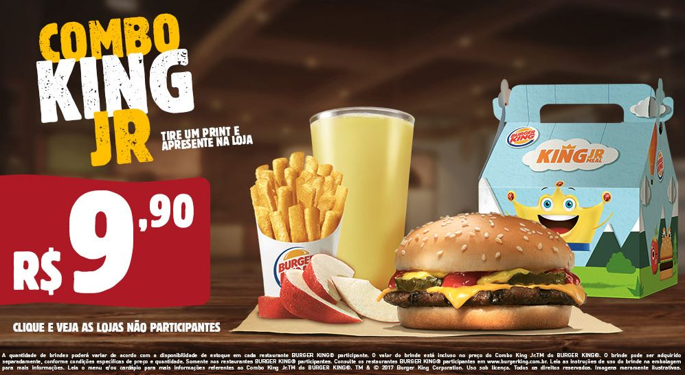 Combo King Jr por R$9,90 no Burger King