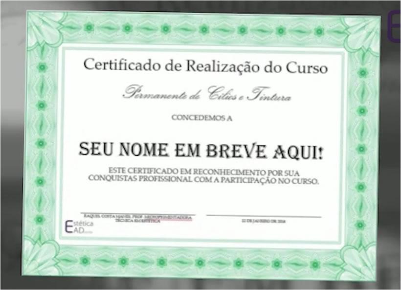Certificado Curso Permanente de Cílios + Tintura - Raquel Manes