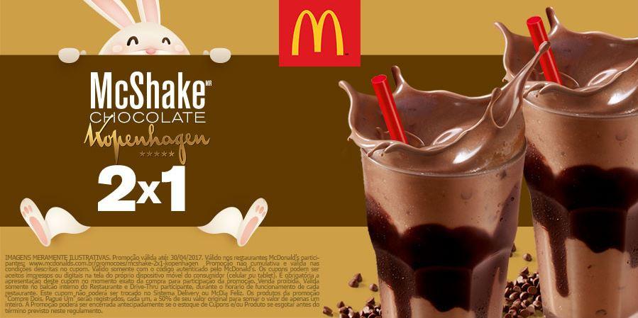 Leve 2, Pague 1: Compre McShake Chocolate Kopenhagen e ganhe outro