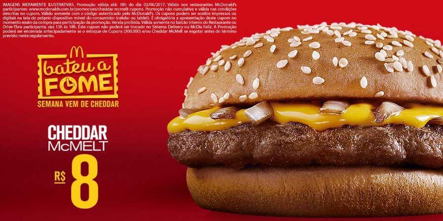 Cheddar McMelt por apenas R$8 no McDonald's