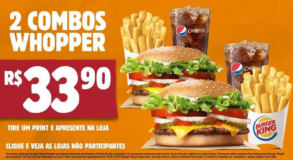 2 Combo Whopper por R$33,90 no Burger King