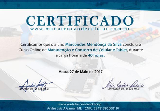 Certificado Curso de Conserto de Celular