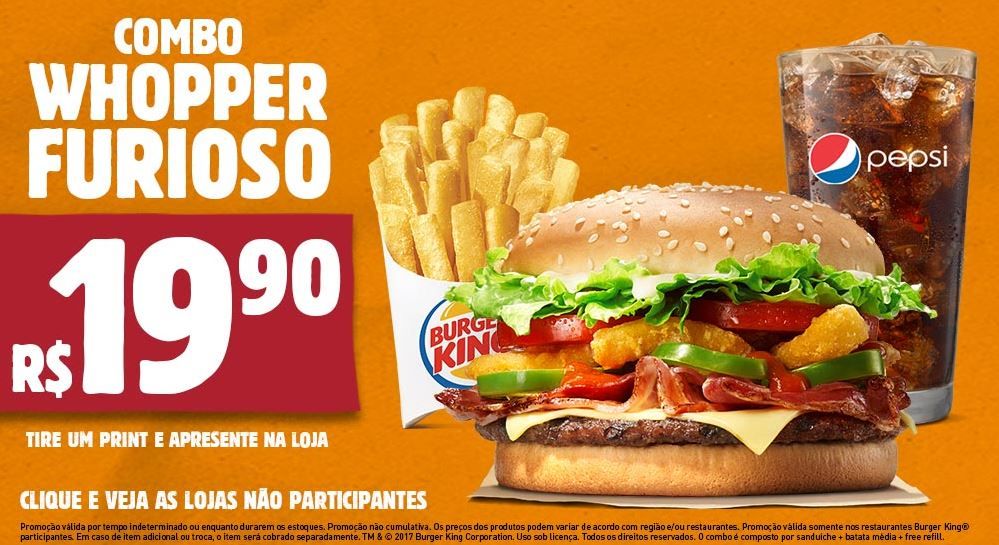 Combo Whopper Furioso por R$19,90 no Burger King