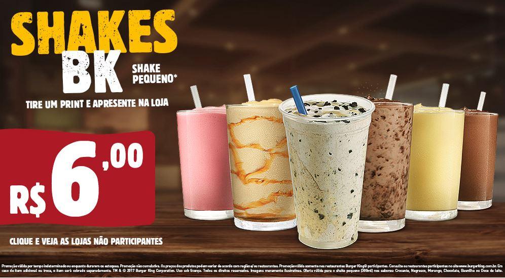 Shakes Pequenos por R$6,00 no Burger King