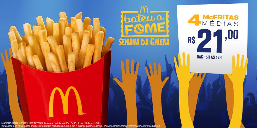 4 McFritas Médias por R$21 no McDonald's